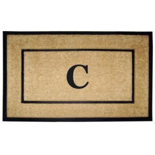 Creative Accents DirtBuster Single Picture Frame Black 30 in. x 48 in. Coir with Rubber Border Monogrammed C Door Mat 18103C