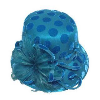 Swan Hat Womens Desing Polka Dot Velvet Covered Teal Blue Hat