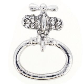 Silvertone Airplane Crystal Pin Brooch   16471864