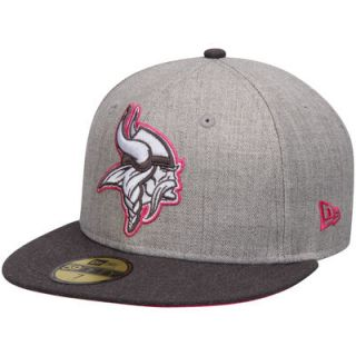 Minnesota Vikings New Era Breast Cancer Awareness On Field 59FIFTY Fitted Hat   Gray/Graphite