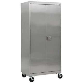 Sandusky 36 in. W x 24 in. D x 84 in. H Stainless Steel Mobile Cabinet with Paddle Lock ST4D362478 XX