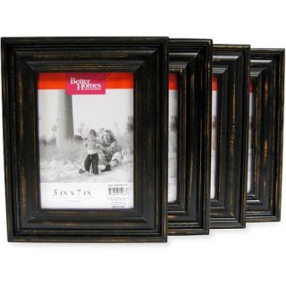 Better Homes and Gardens Distressed Black Wood 5''x7'' Picture Frames, Set of 4