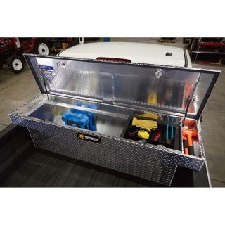 Deep Crossover Truck Box with Pushbutton Locking Latches — 60in. x 71in. x 14 1/2in. x 19in. x 20in., Aluminum  Crossbed Boxes