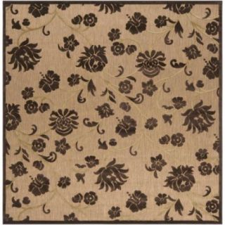 7.5' x 7.5' Sweet Cicely Taupe Brown and Wheat Square Outdoor Area Throw Rug
