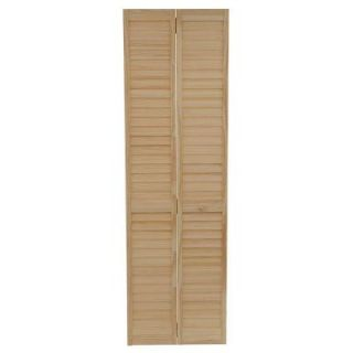 Kimberly Bay 24 in. x 80 in. 24 in. Plantation Louvered Solid Core Unfinished Wood Interior Closet Bi fold Door DPBPLLC24