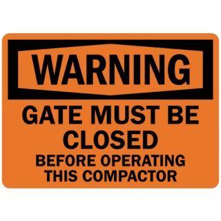 LYLE Warning Sign,Gate Must Be Closed,7 in. H   35KK63|U6 1098 RA_10X7   Grainger