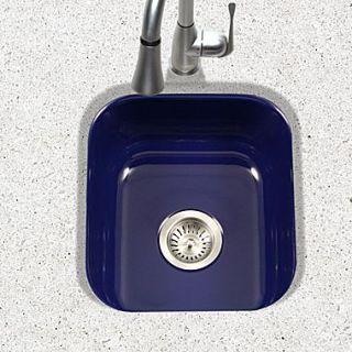 Houzer Porcela 15.59 x 17.32 Porcelain Enamel Steel Undermount Bar Sink; Navy Blue