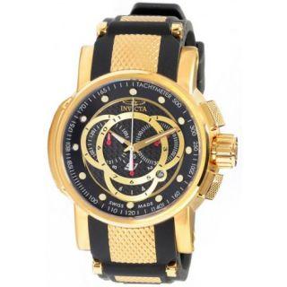 Invicta S1 Chronograph Black Dial Gold tone Steel Black Rubber Mens