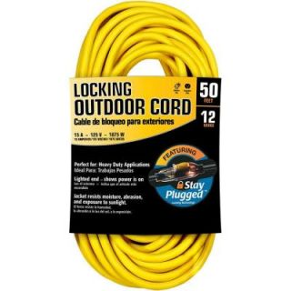 Cerrowire 50 ft. 12/3 Stay Plug Extension Cord   Yellow 630 36037BR