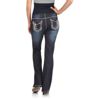 Denim Diva Maternity Plus Size Full Panel Waterfall Embellished Bootcut Jeans with Flap Back Pocket