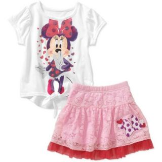 Minnie Mouse Baby Toddler Girl Tie Tee and Skirt Outfit Set