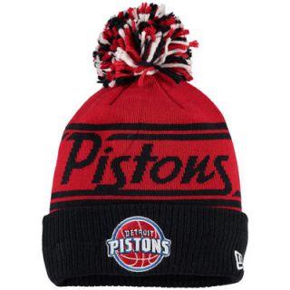 Detroit Pistons New Era Fire Cuffed Knit Hat with Pom   Blue
