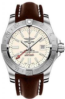 Breitling Avenger II GMT Silver Dial Brown Leather Automatic Mens