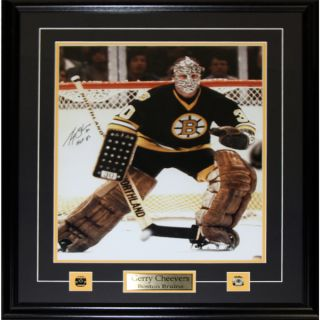 Gerry Cheevers The Mask Autographed Framed 8X10 Photograph   Boston