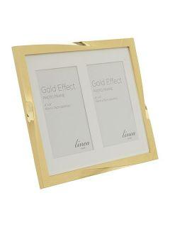 Linea Gold Effect Twist Double Aperture Photo Frame