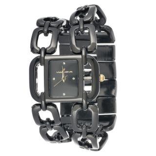 Via Nova Womens Black Square Case and Chain Strap Watch   17418278