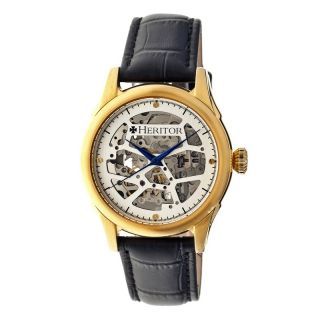 Heritor Nicollier Automatic Silver Skeleton Dial Black Leather Mens