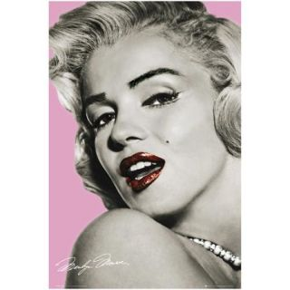 """Marilyn Red Lips 22.375"""" x 34"""" Poster Print"""