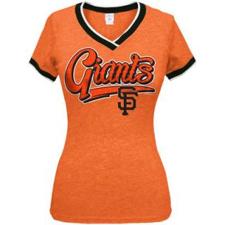 San Francisco Giants 5th & Ocean by New Era Womens Opening Night Tri Blend V Neck T Shirt   Orange