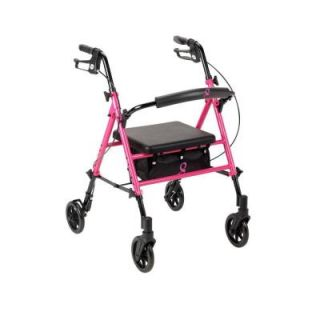 Drive Breast Cancer Awareness 4 Wheel Adjustable Rollator in Pink rtl10261bc