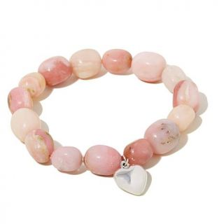 """Jay King Peruvian Pink Opal Stretch Bracelet with Sterling Silver """"Heart"""" Charm   7874108"""