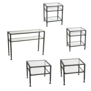 Southern Enterprises Metal Shadow Box Coffee Table Collection in Black (Set of 4) HD300252