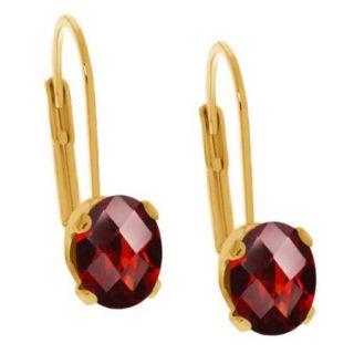 2.80 Ct Oval Checkerboard Shape Red Garnet Yellow Gold Stud Earrings