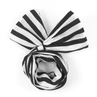 Lady Black White Striped Pattern Both Ends Bowknot Design Hair Scarf Head Band