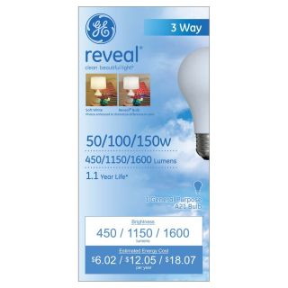 GE 2 Pack 150 Watt for Indoor or Enclosed Outdoor Dimmable Color Enhancing 3 Way Bulbs A21 Incandescent Light Fixture Light Bulbs