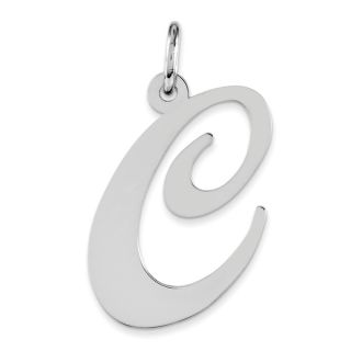 Versil Sterling Silver Large Fancy Script Initial C charm With 18 inch