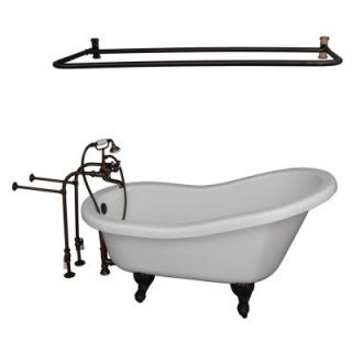Barclay Products 5.6 ft. Acrylic Ball and Claw Feet Slipper Tub in White with Oil Rubbed Bronze Accessories TKADTS67 WORB6