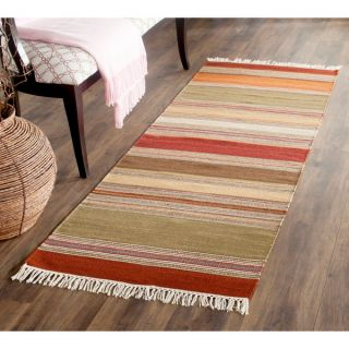 Safavieh Tapestry woven Striped Kilim Village Red Wool Rug (23 x 8