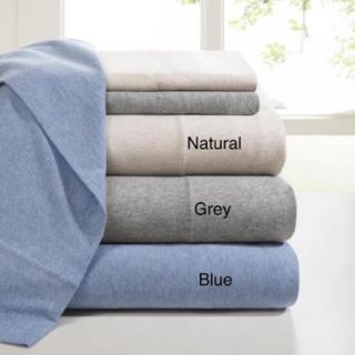Ink+Ivy Brand Heathered Cotton Jersey Knit Sheet Set Queen Natural