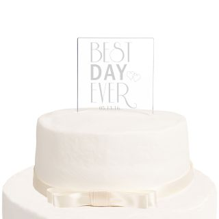 Cathys Concepts Best Day Ever Personalized Acrylic Square Cake Topper