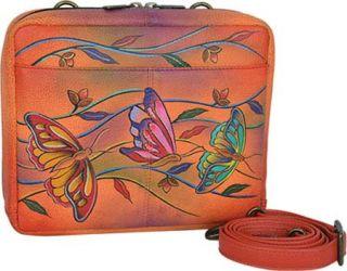 Womens Anuschka Crossbody Travel Organizer   Angel Wings Tangerine
