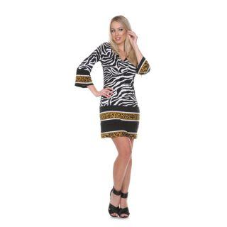 White Mark Womens Madelyn Zebra Print Dress   16646890