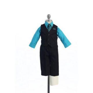 Angels Garment Turquoise 4 Piece Pin Striped Vest Set Boys Suit 5 20