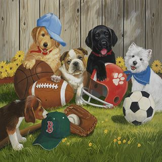 iCanvas Lets Play Ball (Puppies) by William Vanderdasson Painting
