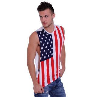 Mens Biker USA Flag Sleeveless Denim Shirt Motorcycle Bald Eagle