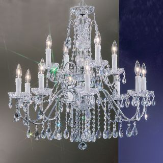 Classic Lighting Daniele 29 in 12 Light Chrome Crystal Tiered Chandelier