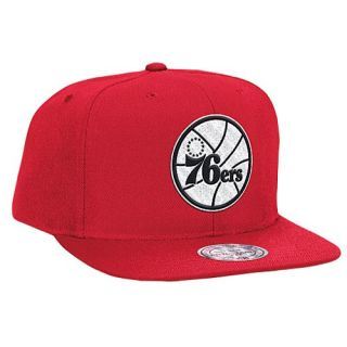 Mitchell & Ness NBA Black & White Logo Snapback   Mens   Accessories   Philadelphia 76ers   Red
