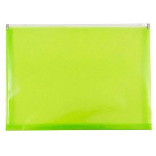 JAM Paper Plastic Envelopes with Zip Closure, Letter Booklet, 9.5 x 12.5, Lime Green Poly, 12/pack (218Z1LI)