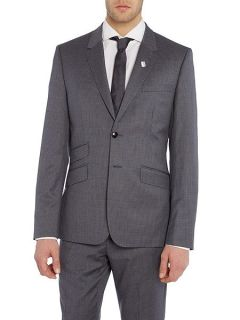 Ted Baker Single Breasted Giraffe Tonal Check Suit Jacket Grey