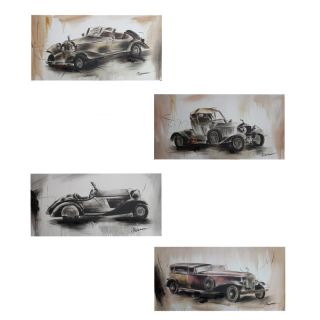 Automobiles 4 Piece Pencil Drawing Painting Print Set by Entrada