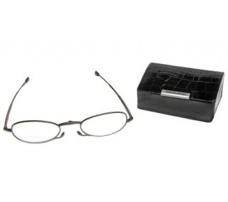 Foster Grant Micro Vision Folding Reading Glasses W/ Mini Case —