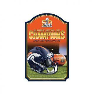 """Super Bowl 50 Champions 11"""" x 17"""" Indoor Antique Wood Finish Sign   Broncos   8044276"""