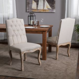 Christopher Knight Home Weathered Hardwood Studded Beige Dining Chair