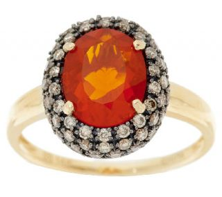 Premier 1.40cts Red Fire Opal & Champagne Diamond Ring 14K Gold —