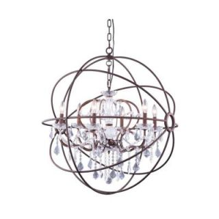 Elegant Lighting Geneva 6 Light Rustic Intent Chandelier with Clear Crystal 1130D32RI/RC
