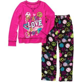 Faded Glory Girls' Long Sleeve Sleepshirt and Fleece Sleep Pant Sleepwear Set